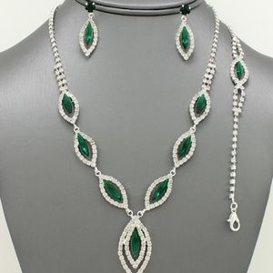 Jewelry - Emerald Green Marquis Statement Necklace Set